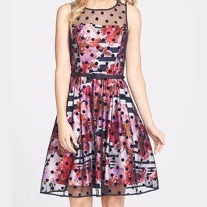 Eliza J Dot Stripe Floral Fit & Flare Dress